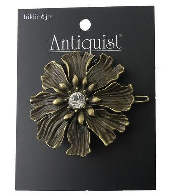 hildie & jo Antiquist Flower Antique Gold Barrette-Clear Crystal
