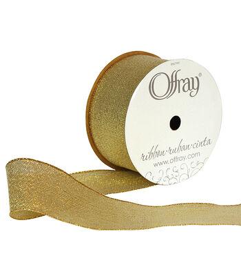 "Offray 1.5""x9' Galena Metallic Woven Ribbon-Gold"