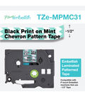 Brother P-touch Embellish Patterned Tape-Black Print on Mint Chevron