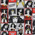 DC Comics Wonder Woman Cotton Fabric -Black & White Blocks