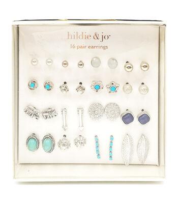 hildie & jo 16-pair Silver Earrings-Turquoise