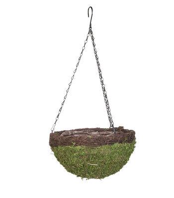 Hello Spring Gardening 14'' Round Moss Hanging Basket