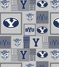 Brigham Young University Cougars Fleece Fabric 58\u0022-Gray Block