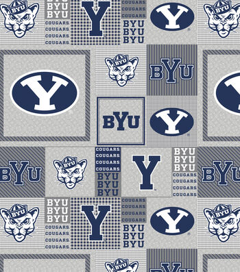 Brigham Young University Cougars Fleece Fabric -Gray Block