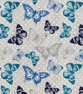Snuggle Flannel Fabric-Navy & Teal Butterflies