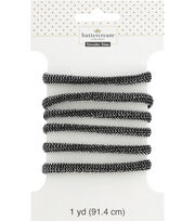 Buttercream 2 Yard Trim Metallic Cord Black Silver, , hi-res