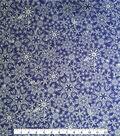Doodles Christmas Cotton Fabric 57\u0022-Royal Blue Snowflakes