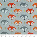 Soft & Comfy Fleece Fabric-Foxes with Metallic Accents