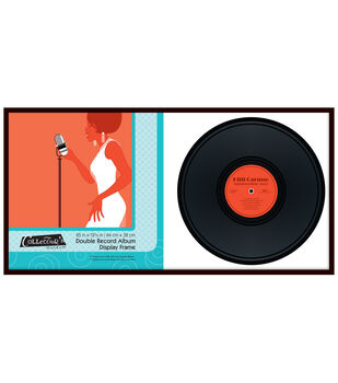 Collector's Museum Double Record Album Display Frame 25''x12.5''-Black