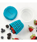 Fruit Container with Integrated Strainer 3.5\u0022X4\u0022X3.5\u0022-Blue