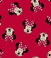 Disney Minnie Mouse Cotton Fabric -Tossed Minnie Heads, , hi-res