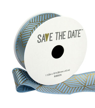 """Save the Date 1.5"""" x 15ft Ribbon-Gold Geometric On Grey"""