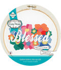 Needle Creations Easy Peazy Reverse Stamped Embroidery Hoop Kit-Blessed