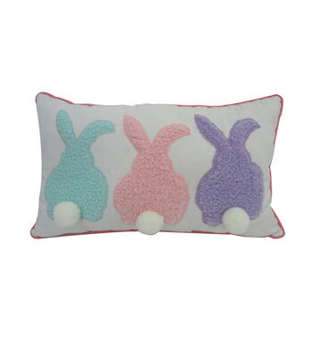 Easter Pillow-Bunnies with Pom Poms Tails