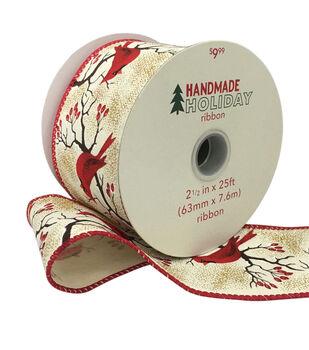Handmade Holiday Christmas Ribbon 2.5''x25'-Cardinals & Trees on Ivory