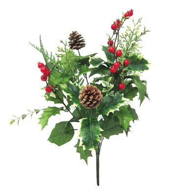 Blooming Holiday Christmas Pinecone & Large Berry Mixed Bush