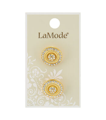La Mode 2 pk 18 mm Gold Shank Buttons with Clear Rhinestones