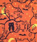 Doodles Halloween Interlock Cotton Fabric 57\u0022-Spooky Owl Orange