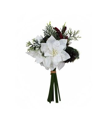 Blooming Holiday 12'' White Poinsettia, Berry & Pinecone Bouquet