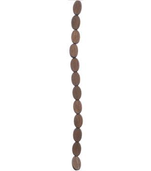 hildie & jo Strung Beads-Czech Wood Flat Oval Dark Brown