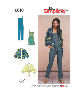 Simplicity Pattern 8610 Misses' Kimono, Jumpsuit & Dress-Size H5 (6-14)