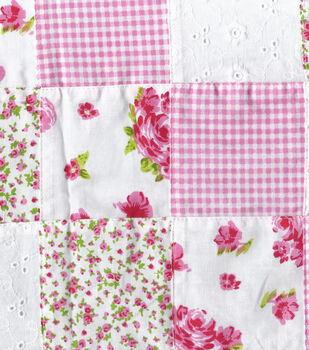 Warm Weather Apparel Fabric-Patchwork Eyelet Pink Cotton