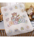 Bucilla Crib Cover Stamped Cross Stitch Kit Baby Blocks