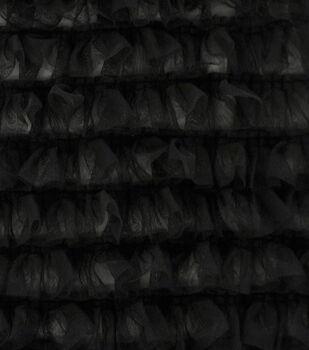 Sew Sweet Mesh Fabric with Ruffles-Black