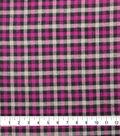Plaiditudes Brushed Cotton Fabric-Purple, Grey & Black Checked