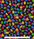 Novelty Cotton Fabric 44\u0027\u0027-Puzzle Pieces on Black