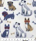 Anti-Pill Plush Fleece Fabric-Happy Sketched Pup