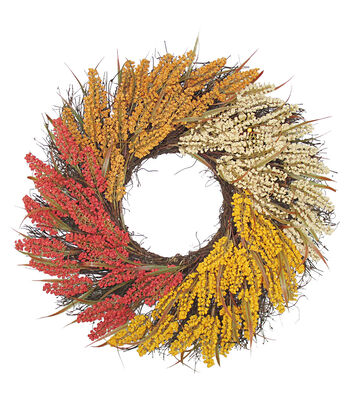 Blooming Autumn 23'' Heather Wreath-Tri Color