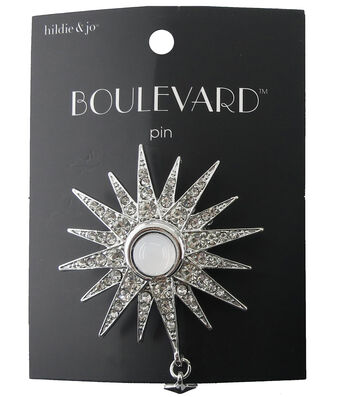 hildie & jo Boulevard Starburst Silver Pin-Crystals with Dangle