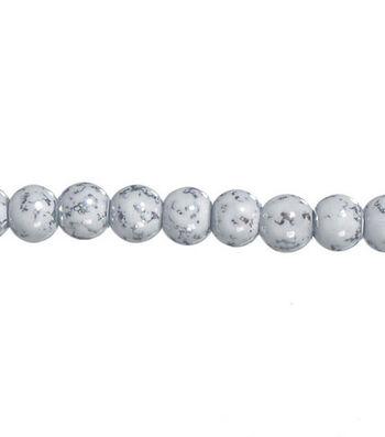 """Darice 8mm Marble Glass Beads-7""""/White"""