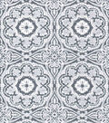 Luxe Flannel Fabric-Medallions on Heather Gray