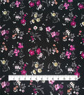 Silky Stretch Fabric 57\u0022-Black White Scattered Floral Textured