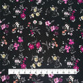 Silky Stretch Textured Fabric-Floral on Black