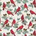 Christmas Cotton Fabric-Cardnials On Branches Metallic