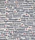 Anti-Pill Plush Fleece Fabric-Textured State Names