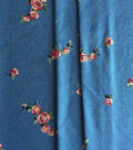 Sportswear Denim Fabric 49\u0022-Blue Floral Embroidered
