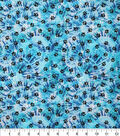 Novelty Cotton Fabric -Paws on Blue Tie Dye