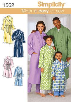 Simplicity Pattern 1562A Adult & Children's Robes-Size XS-L/XS-XL