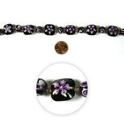 Blue Moon Strung Handpainted Glass Bead,Square & Rnd,Purple w/Wht,Floral, , hi-res
