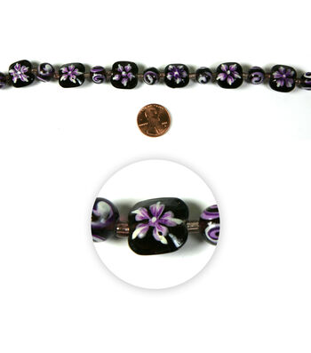 Blue Moon Strung Handpainted Glass Bead,Square & Rnd,Purple w/Wht,Floral