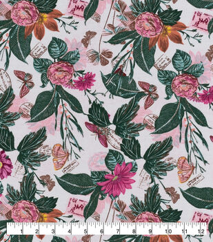 Snuggle Flannel Fabric-Realistic Butterflies & Floral