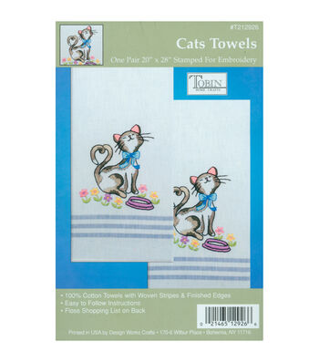 Tobin Stamped Embroidery Kitchen Towels Cat