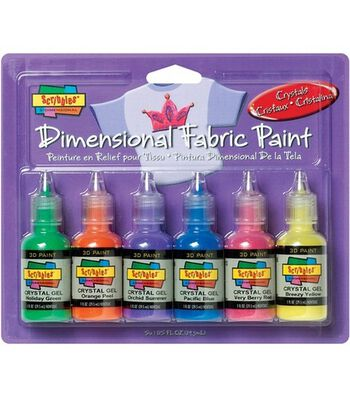Scribbles Dimensional Fabric Paint 1 Ounce-Crystals
