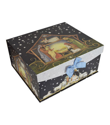 Maker's Holiday Large Flip Top Box-Nativity