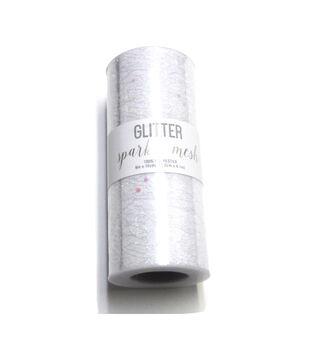 Wyla Glitter Sparkle Mesh 6''x10 yds-White