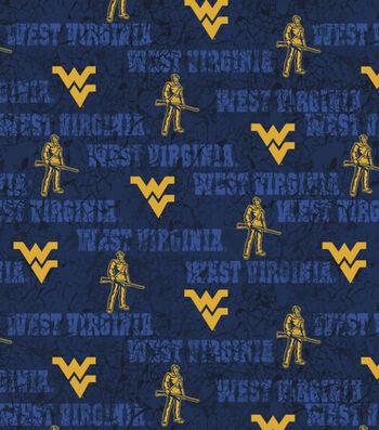 West Virginia University Mountaineers Cotton Fabric -Distressed
